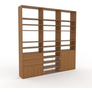 Bücherregal Eiche - Modernes Regal für Bücher: Schubladen in Eiche & Türen in Eiche - 226 x 233 x 35 cm, konfigurierbar