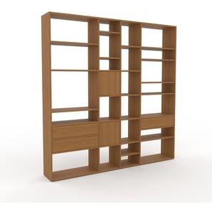 Bücherregal Eiche - Modernes Regal für Bücher: Schubladen in Eiche & Türen in Eiche - 229 x 233 x 35 cm, konfigurierbar