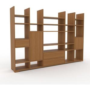 Bücherregal Eiche - Modernes Regal für Bücher: Schubladen in Eiche & Türen in Eiche - 231 x 158 x 35 cm, konfigurierbar
