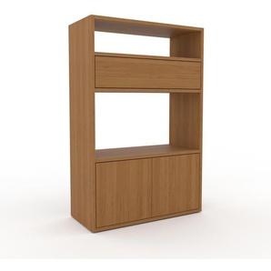Bücherregal Eiche - Modernes Regal für Bücher: Schubladen in Eiche & Türen in Eiche - 77 x 118 x 35 cm, konfigurierbar