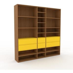 Bücherregal Eiche - Modernes Regal für Bücher: Schubladen in Gelb - 190 x 195 x 35 cm, Individuell konfigurierbar