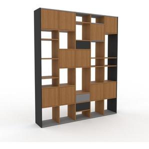 Bücherregal Eiche - Modernes Regal für Bücher: Schubladen in Anthrazit & Türen in Eiche - 195 x 233 x 35 cm, konfigurierbar