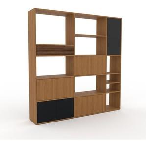 Bücherregal Eiche - Modernes Regal für Bücher: Schubladen in Nussbaum & Türen in Eiche - 190 x 195 x 35 cm, konfigurierbar