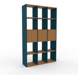 Bücherregal Blau - Modernes Regal für Bücher: Türen in Eiche - 118 x 195 x 35 cm, Individuell konfigurierbar