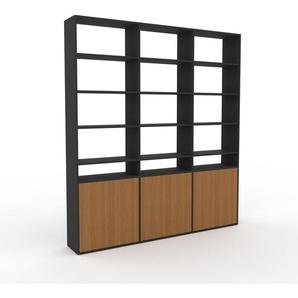 Bücherregal Anthrazit - Modernes Regal für Bücher: Türen in Eiche - 226 x 253 x 35 cm, Individuell konfigurierbar