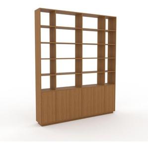 Bücherregal Eiche - Modernes Regal für Bücher: Türen in Eiche - 229 x 277 x 35 cm, Individuell konfigurierbar