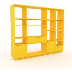 Bücherregal Gelb - Modernes Regal für Bücher: Schubladen in Gelb & Türen in Gelb - 193 x 162 x 35 cm, konfigurierbar