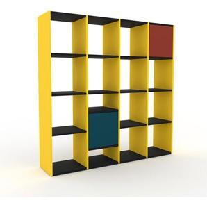 Bücherregal Gelb - Modernes Regal für Bücher: Türen in Blau - 156 x 157 x 35 cm, Individuell konfigurierbar
