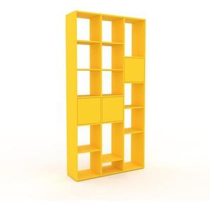 Bücherregal Gelb - Modernes Regal für Bücher: Türen in Gelb - 118 x 233 x 35 cm, Individuell konfigurierbar