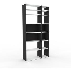 Bücherregal Anthrazit - Modernes Regal für Bücher: Hochwertige Qualität, einzigartiges Design - 116 x 233 x 35 cm, Individuell konfigurierbar
