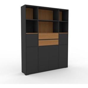 Bücherregal Anthrazit - Modernes Regal für Bücher: Schubladen in Eiche & Türen in Anthrazit - 154 x 196 x 35 cm, konfigurierbar