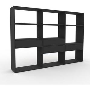 Bücherregal Anthrazit - Modernes Regal für Bücher: Schubladen in Anthrazit - 226 x 157 x 35 cm, Individuell konfigurierbar