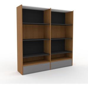 Bücherregal Eiche - Modernes Regal für Bücher: Schubladen in Grau - 152 x 157 x 35 cm, Individuell konfigurierbar