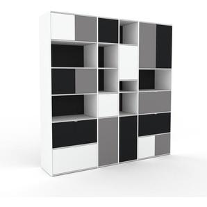 Bücherregal Anthrazit - Modernes Regal für Bücher: Schubladen in Weiß & Türen in Grau - 229 x 234 x 47 cm, konfigurierbar