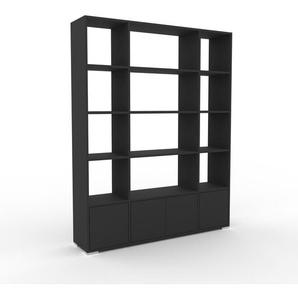 Bücherregal Anthrazit - Modernes Regal für Bücher: Türen in Anthrazit - 154 x 196 x 35 cm, Individuell konfigurierbar