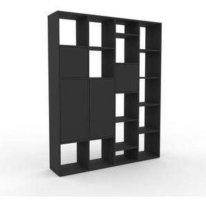 Bücherregal Anthrazit - Modernes Regal für Bücher: Türen in Anthrazit - 156 x 195 x 35 cm, Individuell konfigurierbar