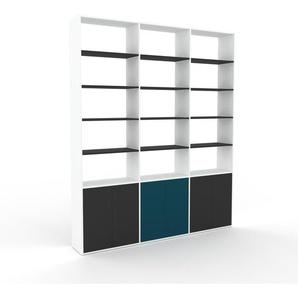 Bücherregal Weiß - Modernes Regal für Bücher: Türen in Anthrazit - 226 x 272 x 35 cm, Individuell konfigurierbar