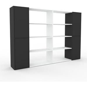 Bücherregal Anthrazit - Modernes Regal für Bücher: Türen in Anthrazit - 229 x 157 x 35 cm, Individuell konfigurierbar