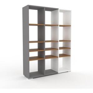 Bücherregal Grau - Modernes Regal für Bücher: Hochwertige Qualität, einzigartiges Design - 118 x 158 x 35 cm, Individuell konfigurierbar