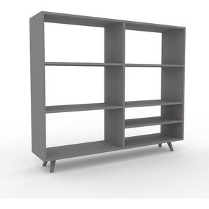 Bücherregal Grau - Modernes Regal für Bücher: Hochwertige Qualität, einzigartiges Design - 152 x 130 x 35 cm, Individuell konfigurierbar