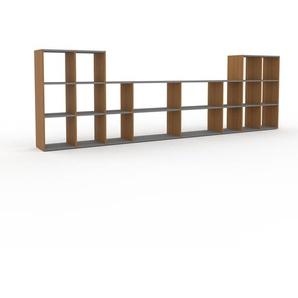 Bücherregal Eiche, Holz - Modernes Regal für Bücher: Hochwertige Qualität, einzigartiges Design - 383 x 118 x 35 cm, konfigurierbar