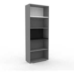 Bücherregal Grau - Modernes Regal für Bücher: Hochwertige Qualität, einzigartiges Design - 77 x 196 x 35 cm, Individuell konfigurierbar