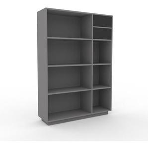 Bücherregal Grau - Modernes Regal für Bücher: Schubladen in Anthrazit - 116 x 162 x 35 cm, Individuell konfigurierbar