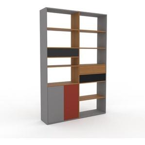 Bücherregal Grau - Modernes Regal für Bücher: Schubladen in Anthrazit & Türen in Grau - 152 x 233 x 35 cm, konfigurierbar
