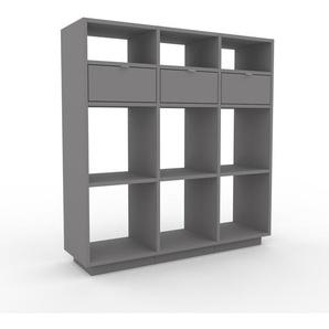Bücherregal Grau - Modernes Regal für Bücher: Schubladen in Grau - 118 x 124 x 35 cm, Individuell konfigurierbar