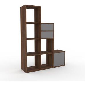 Bücherregal Nussbaum - Modernes Regal für Bücher: Schubladen in Grau & Türen in Grau - 118 x 157 x 35 cm, konfigurierbar