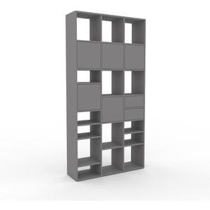 Bücherregal Grau - Modernes Regal für Bücher: Schubladen in Grau & Türen in Grau - 118 x 233 x 35 cm, konfigurierbar