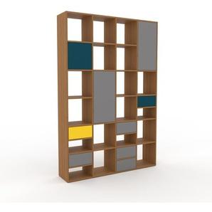 Bücherregal Eiche - Modernes Regal für Bücher: Schubladen in Grau & Türen in Grau - 156 x 233 x 35 cm, konfigurierbar