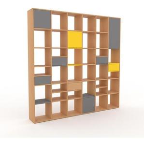Bücherregal Buche - Modernes Regal für Bücher: Schubladen in Grau & Türen in Grau - 233 x 234 x 35 cm, konfigurierbar