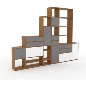 Bücherregal Eiche - Modernes Regal für Bücher: Schubladen in Grau & Türen in Weiß - 306 x 233 x 35 cm, konfigurierbar