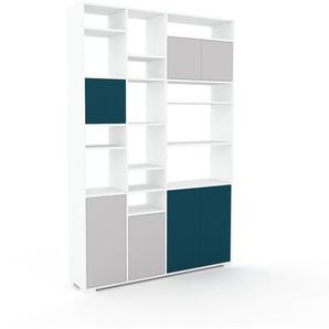 Bücherregal Lichtgrau - Modernes Regal für Bücher: Türen in Lichtgrau - 154 x 235 x 35 cm, Individuell konfigurierbar
