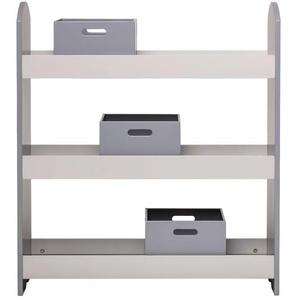 Bücherregal mit Schubladen, grau