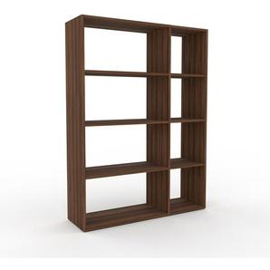 Bücherregal Nussbaum, Holz - Modernes Regal für Bücher: Hochwertige Qualität, einzigartiges Design - 116 x 157 x 35 cm, konfigurierbar