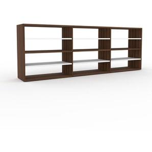 Bücherregal Nussbaum, Holz - Modernes Regal für Bücher: Hochwertige Qualität, einzigartiges Design - 226 x 80 x 35 cm, konfigurierbar