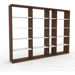 Bücherregal Nussbaum, Holz - Modernes Regal für Bücher: Hochwertige Qualität, einzigartiges Design - 265 x 195 x 35 cm, konfigurierbar