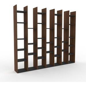 Bücherregal Nussbaum, Holz - Modernes Regal für Bücher: Hochwertige Qualität, einzigartiges Design - 272 x 233 x 35 cm, konfigurierbar