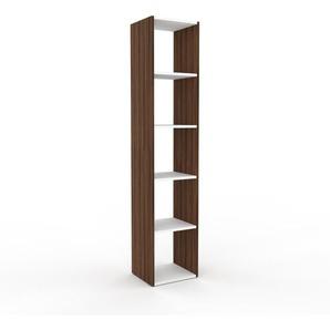 Bücherregal Nussbaum, Holz - Modernes Regal für Bücher: Hochwertige Qualität, einzigartiges Design - 41 x 195 x 35 cm, konfigurierbar