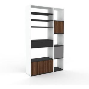 Bücherregal Weiß - Modernes Regal für Bücher: Schubladen in Anthrazit & Türen in Nussbaum - 116 x 195 x 35 cm, konfigurierbar