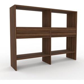 Bücherregal Nussbaum - Modernes Regal für Bücher: Schubladen in Nussbaum - 152 x 118 x 35 cm, Individuell konfigurierbar