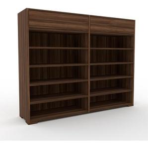Bücherregal Nussbaum - Modernes Regal für Bücher: Schubladen in Nussbaum - 152 x 120 x 35 cm, Individuell konfigurierbar