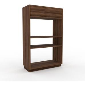 Bücherregal Nussbaum - Modernes Regal für Bücher: Schubladen in Nussbaum - 77 x 124 x 35 cm, Individuell konfigurierbar
