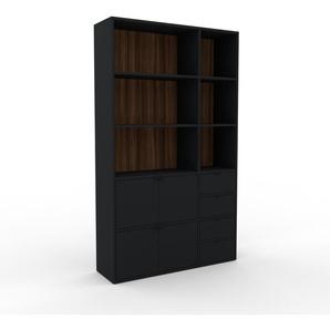 Bücherregal Schwarz - Modernes Regal für Bücher: Schubladen in Schwarz & Türen in Schwarz - 116 x 195 x 35 cm, konfigurierbar