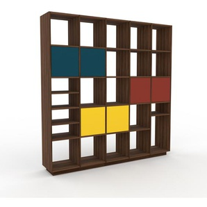 Bücherregal Nussbaum - Modernes Regal für Bücher: Türen in Blau - 195 x 200 x 35 cm, Individuell konfigurierbar