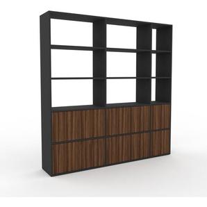 Bücherregal Anthrazit - Modernes Regal für Bücher: Türen in Nussbaum - 190 x 195 x 35 cm, Individuell konfigurierbar
