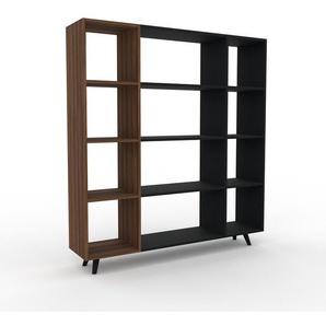 Bücherregal Nussbaum, Holz - Modernes Regal für Bücher: Hochwertige Qualität, einzigartiges Design - 154 x 168 x 35 cm, konfigurierbar