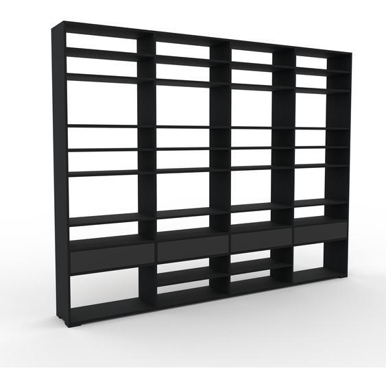Bücherregal Schwarz - Modernes Regal für Bücher: Schubladen in Graphitgrau - 301 x 235 x 35 cm, Individuell konfigurierbar